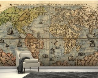 Map of Ancient World mural wallpaper