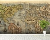 Map of Ancient World mural wallpaper in-room view