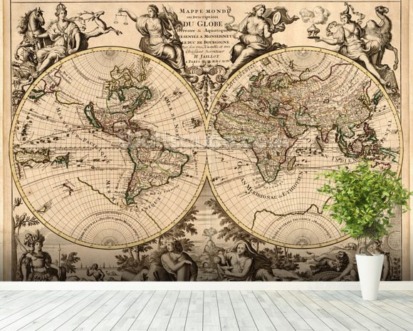 High quality antique map wallpaper wall mural wallsauce for Antique wallpaper mural