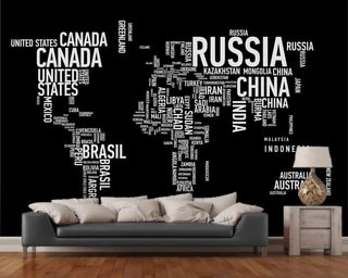 World map wallpaper wall murals wallsauce usa word cloud world map gumiabroncs Choice Image