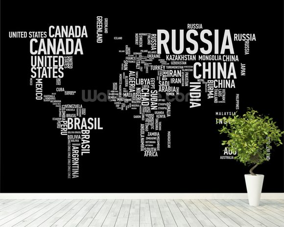 Word cloud world map word cloud world map mural wallpaper room setting gumiabroncs Gallery