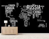 Word Cloud World Map mural wallpaper living room preview