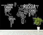 Word Cloud World Map mural wallpaper in-room view
