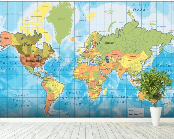 World map wallpaper wall mural wallsauce new zealand world map mural wallpaper room setting gumiabroncs Gallery