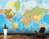 World Map mural wallpaper kitchen preview