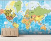 World Map mural wallpaper living room preview