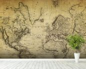 19th Century Vintage Map wall mural in-room view