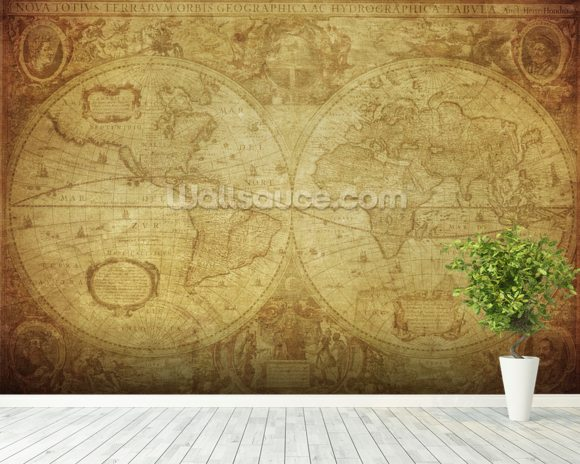 17th Century World Map wallpaper mural room setting
