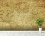 17th Century World Map wallpaper mural in-room view