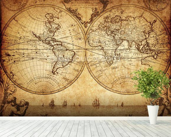 18th Century World Map Wall Mural Room Setting Part 92