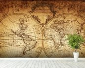 18th Century World Map wall mural in-room view