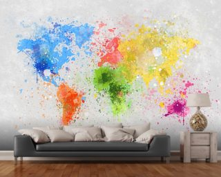 World map wallpaper wall murals wallsauce usa world map painting gumiabroncs Image collections