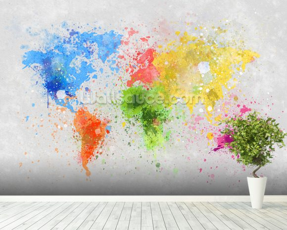 World map painting wallpaper mural room setting