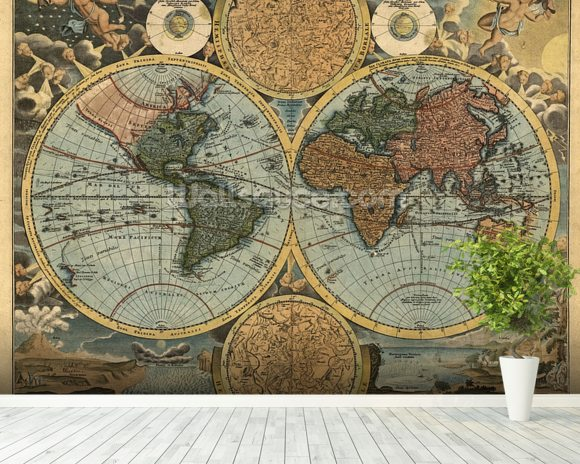 Ancient map wallpaper wall mural wallsauce australia ancient map mural wallpaper room setting gumiabroncs Choice Image