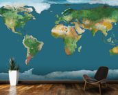 World Map Illustration wallpaper mural kitchen preview