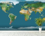 World Map Illustration wallpaper mural in-room view