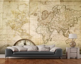 Old Map & Compass wall mural