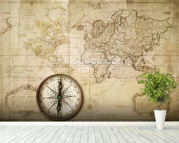 Old Map & Compass wall mural room setting