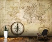 Old Map & Compass wall mural kitchen preview