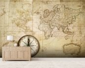 Old Map & Compass wall mural living room preview