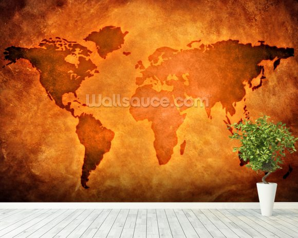 World Map on Leather wallpaper mural room setting