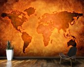World Map on Leather wallpaper mural kitchen preview