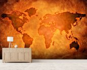 World Map on Leather wallpaper mural living room preview