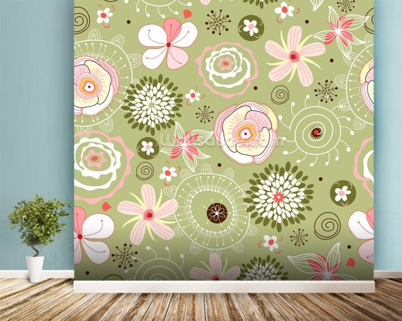 Floral wall mural room setting