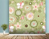 Floral wall mural in-room view