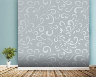 Floral Pattern - Grey mural wallpaper