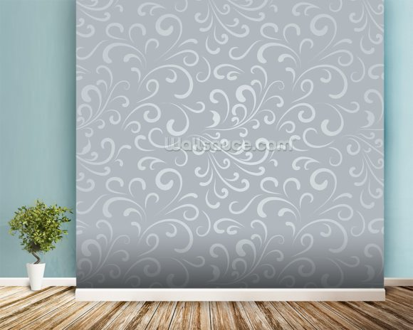 Floral Pattern - Grey mural wallpaper room setting