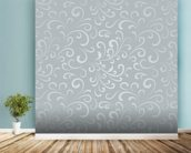 Floral Pattern - Grey mural wallpaper in-room view