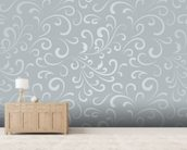 Floral Pattern - Grey mural wallpaper living room preview