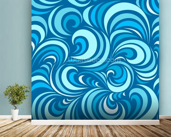 Waves mural wallpaper room setting