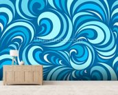 Waves mural wallpaper living room preview