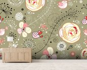 Floral Birds wall mural living room preview