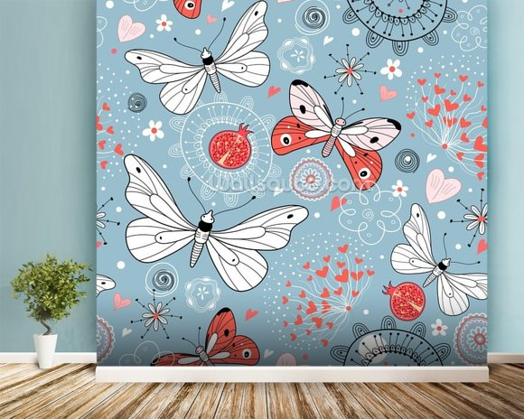 Butterflies wallpaper wall mural wallsauce usa for Butterfly mural wallpaper