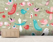 Funny Birds mural wallpaper living room preview