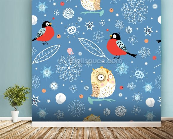 Owls and Finch wallpaper mural room setting