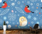 Owls and Finch wallpaper mural kitchen preview