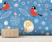 Owls and Finch wallpaper mural living room preview