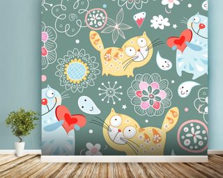 Cats mural wallpaper