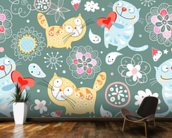Cats mural wallpaper kitchen preview