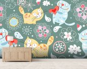 Cats mural wallpaper living room preview