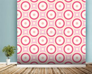 Circles - Red and Pink wallpaper mural