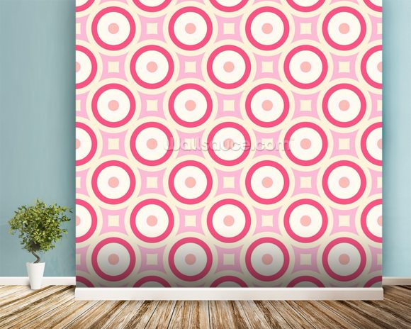 Circles - Red and Pink wallpaper mural room setting
