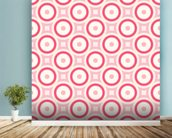 Circles - Red and Pink wallpaper mural in-room view