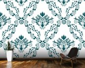 Damask - Green mural wallpaper kitchen preview