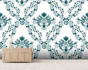 Damask - Green mural wallpaper living room preview