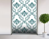 Damask - Green mural wallpaper in-room view